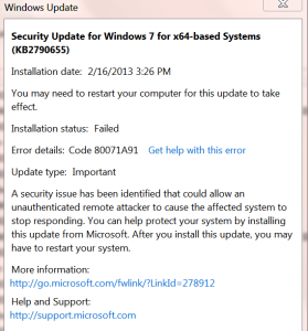 Recent W7 Updates Fail to Install | Wilders Security Forums