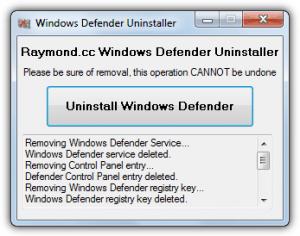 Windows 7 Windows Defender Uninstaller  full