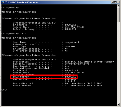 How to find my ISPs DHCP server address Wilders Security Forums